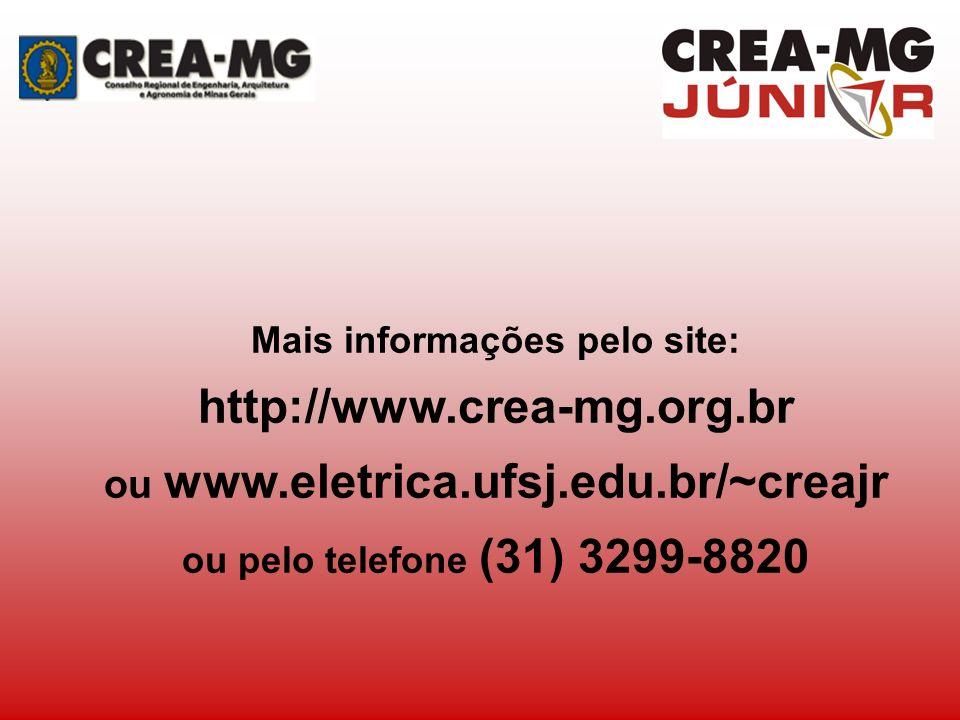 Mais informações pelo site: http://www.crea-mg.org.br ou www.eletrica.ufsj.edu.br/~creajr ou pelo telefone (31) 3299-8820