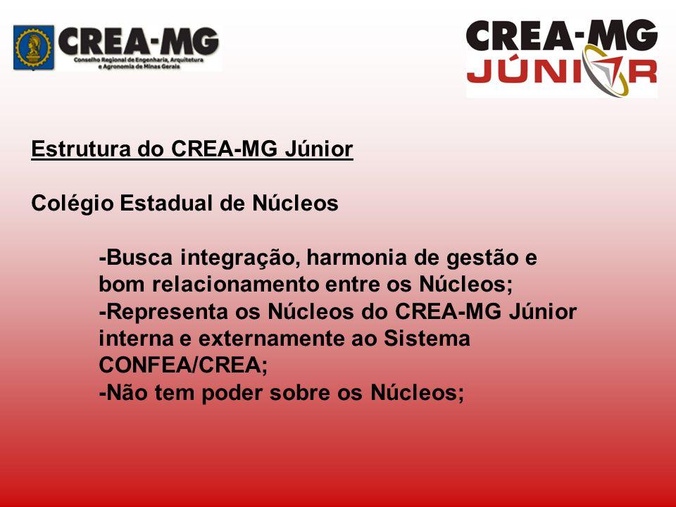 Estrutura do CREA-MG Júnior Colégio Estadual de Núcleos -Estrutura colegiada composta de: Coordenação Geral e Coordenações Regionais: Norte, Leste, Sul, Nordeste, Sudeste e Centro- Metropolitana;