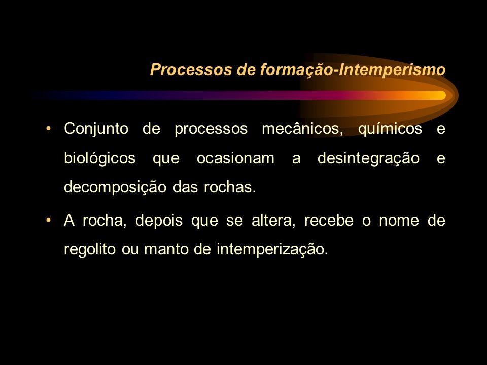 Processos de formação-Intemperismo Conjunto de processos mecânicos, químicos e biológicos que ocasionam a desintegração e decomposição das rochas. A r