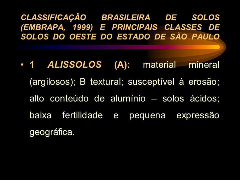 CLASSIFICAÇÃO BRASILEIRA DE SOLOS (EMBRAPA, 1999) E PRINCIPAIS CLASSES DE SOLOS DO OESTE DO ESTADO DE SÃO PAULO 1 ALISSOLOS (A): material mineral (arg