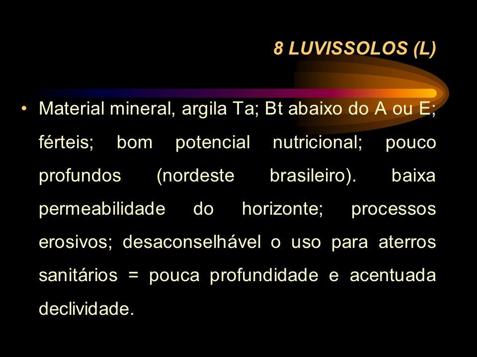 8 LUVISSOLOS (L) Material mineral, argila Ta; Bt abaixo do A ou E; férteis; bom potencial nutricional; pouco profundos (nordeste brasileiro). baixa pe