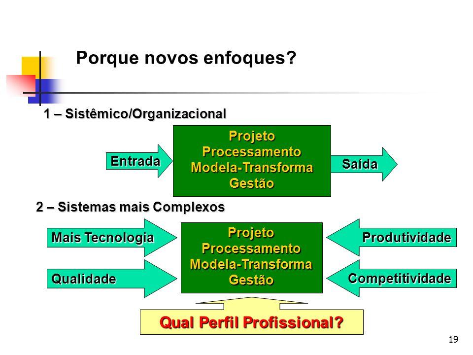 19 1 – Sistêmico/Organizacional Projeto Processamento Modela-Transforma Gestão Entrada Saída Porque novos enfoques? 2 – Sistemas mais Complexos Projet