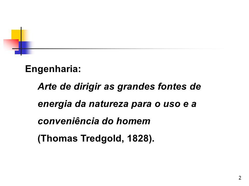 2 Engenharia: Arte de dirigir as grandes fontes de energia da natureza para o uso e a conveniência do homem (Thomas Tredgold, 1828).