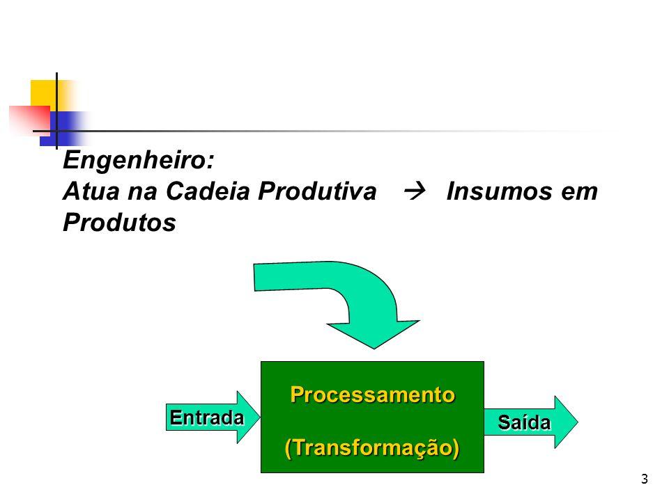 3 Engenheiro: Atua na Cadeia Produtiva Insumos em Produtos Processamento(Transformação) Entrada Saída