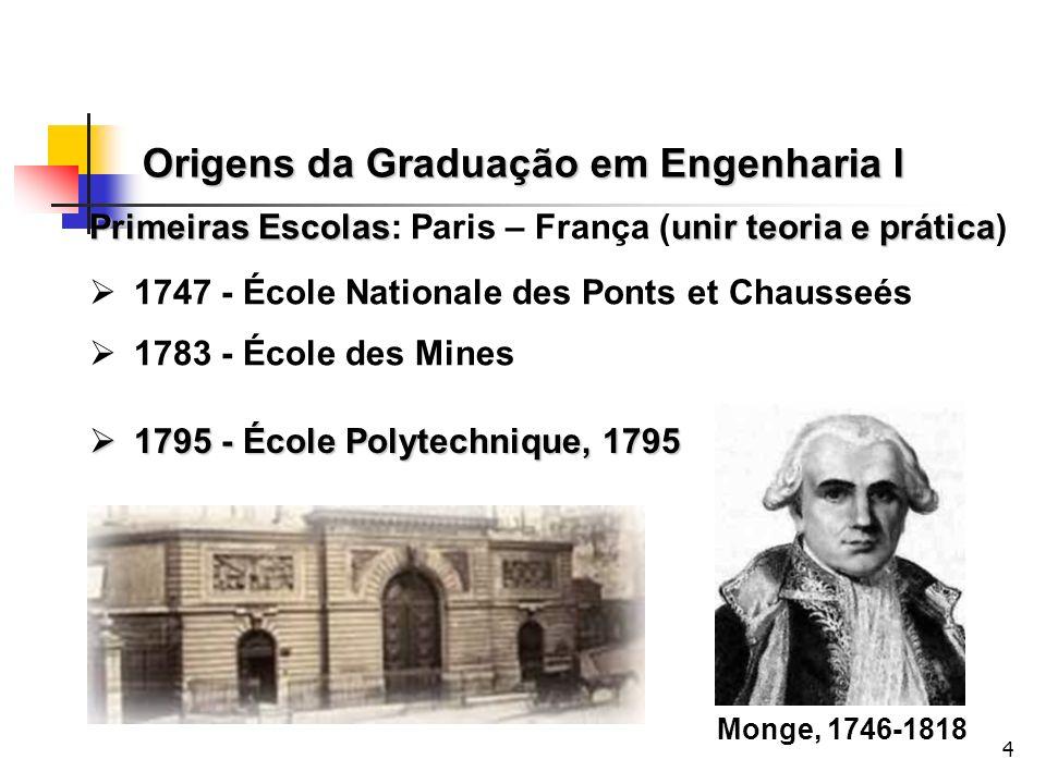 4 Primeiras Escolasunir teoria e prática Primeiras Escolas: Paris – França (unir teoria e prática) 1747 - École Nationale des Ponts et Chausseés 1783
