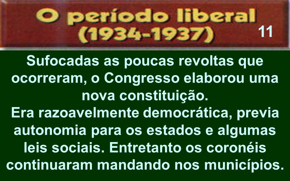 Sufocadas as poucas revoltas que ocorreram, o Congresso elaborou uma nova constituição. Era razoavelmente democrática, previa autonomia para os estado