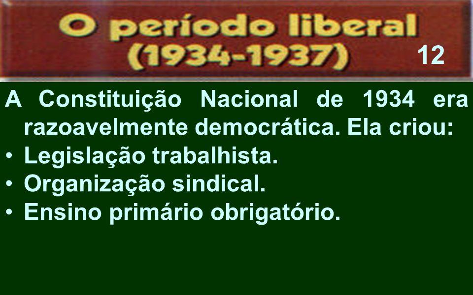 A Constituição Nacional de 1934 era razoavelmente democrática. Ela criou: Legislação trabalhista. Organização sindical. Ensino primário obrigatório. 1