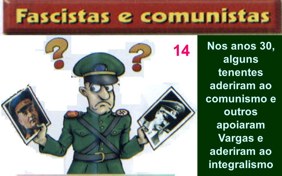 Nos anos 30, alguns tenentes aderiram ao comunismo e outros apoiaram Vargas e aderiram ao integralismo 14