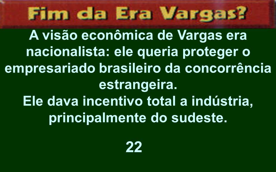 A visão econômica de Vargas era nacionalista: ele queria proteger o empresariado brasileiro da concorrência estrangeira. Ele dava incentivo total a in