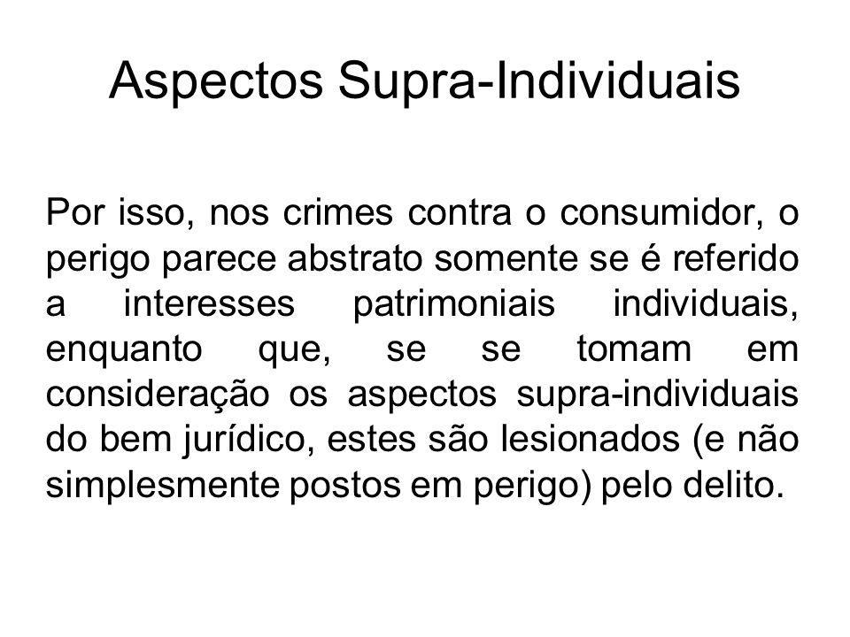 Aspectos Supra-Individuais Por isso, nos crimes contra o consumidor, o perigo parece abstrato somente se é referido a interesses patrimoniais individu
