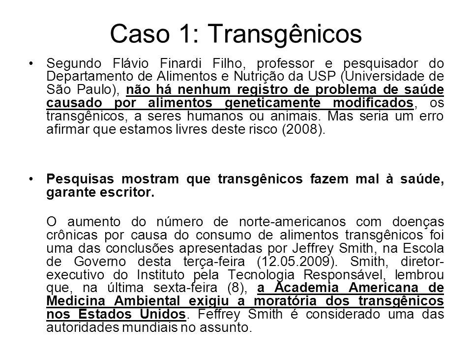 Caso 1: Transgênicos Segundo Flávio Finardi Filho, professor e pesquisador do Departamento de Alimentos e Nutrição da USP (Universidade de São Paulo),
