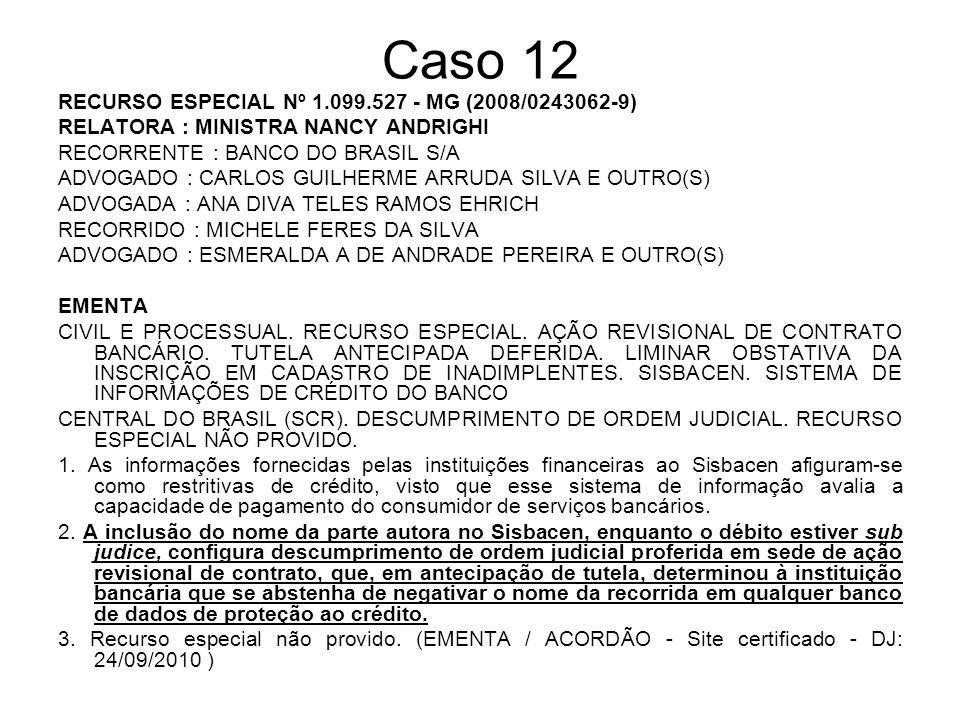 Caso 12 RECURSO ESPECIAL Nº 1.099.527 - MG (2008/0243062-9) RELATORA : MINISTRA NANCY ANDRIGHI RECORRENTE : BANCO DO BRASIL S/A ADVOGADO : CARLOS GUIL