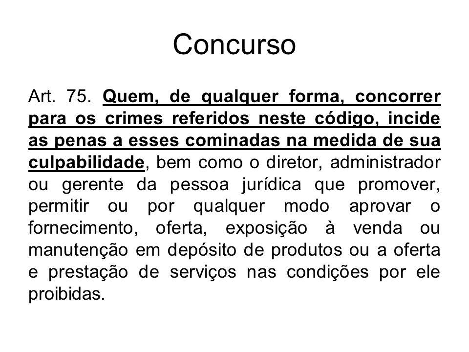 Concurso Art. 75. Quem, de qualquer forma, concorrer para os crimes referidos neste código, incide as penas a esses cominadas na medida de sua culpabi