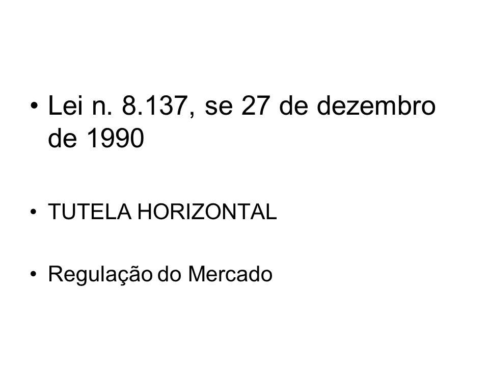 Lei n. 8.137, se 27 de dezembro de 1990 TUTELA HORIZONTAL Regulação do Mercado