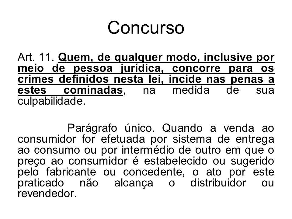 Concurso Art. 11. Quem, de qualquer modo, inclusive por meio de pessoa jurídica, concorre para os crimes definidos nesta lei, incide nas penas a estes