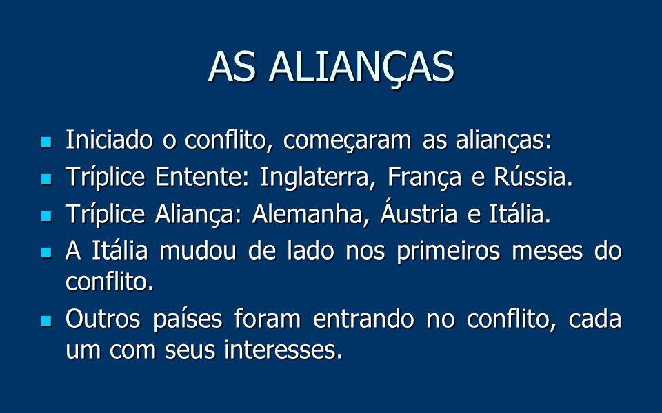 AS ALIANÇAS Iniciado o conflito, começaram as alianças: Tríplice Entente: Inglaterra, França e Rússia.