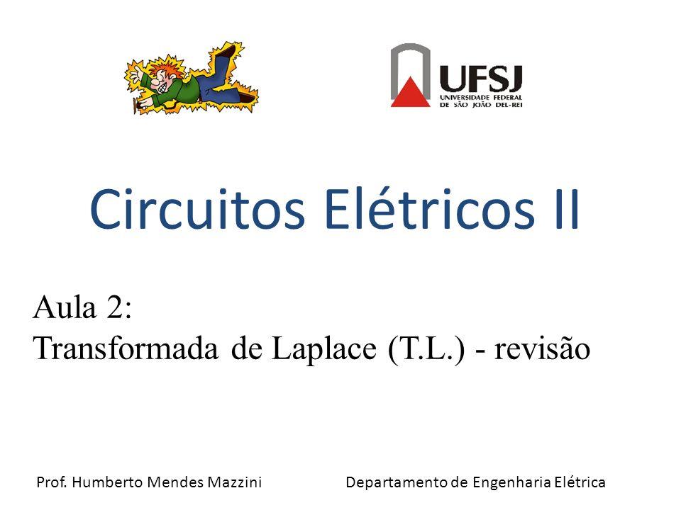 Circuitos Elétricos II Prof. Humberto Mendes Mazzini Departamento de Engenharia Elétrica Aula 2: Transformada de Laplace (T.L.) - revisão