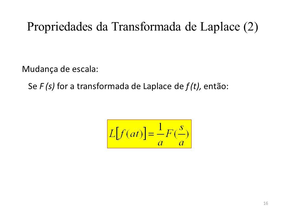 16 Propriedades da Transformada de Laplace (2) Mudança de escala: Se F (s) for a transformada de Laplace de f (t), então: