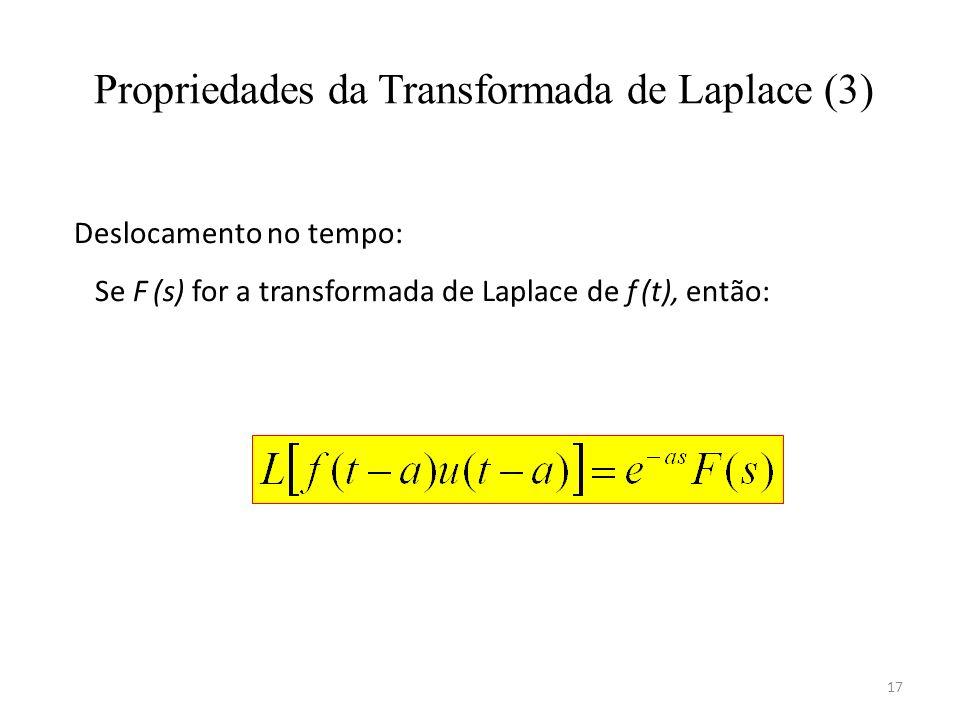 17 Propriedades da Transformada de Laplace (3) Deslocamento no tempo: Se F (s) for a transformada de Laplace de f (t), então:
