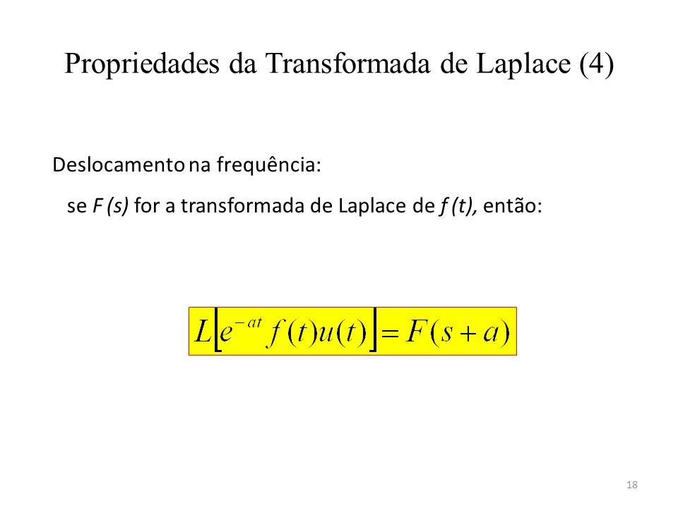 18 Propriedades da Transformada de Laplace (4) Deslocamento na frequência: se F (s) for a transformada de Laplace de f (t), então: