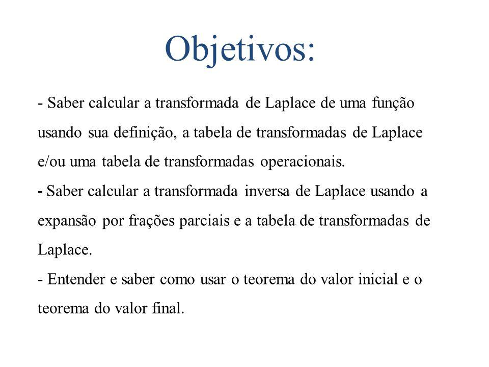 Objetivos: - Saber calcular a transformada de Laplace de uma função usando sua definição, a tabela de transformadas de Laplace e/ou uma tabela de tran