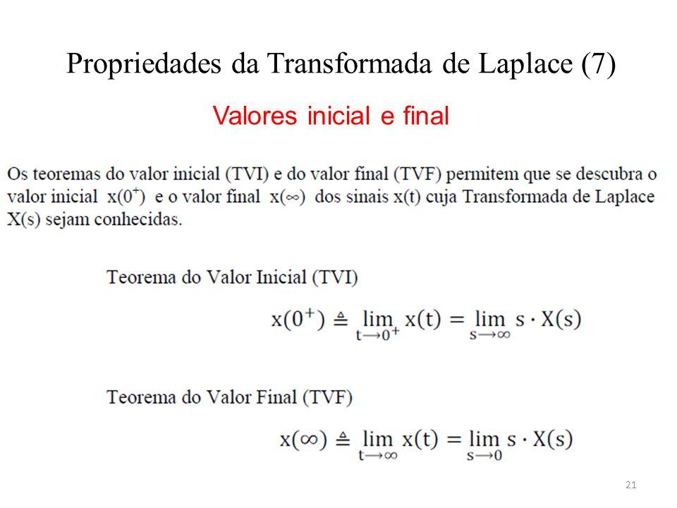 21 Propriedades da Transformada de Laplace (7) Valores inicial e final
