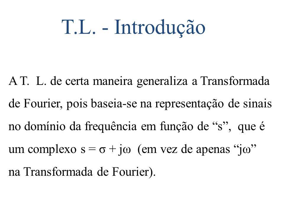 T.L. - Introdução A T. L. de certa maneira generaliza a Transformada de Fourier, pois baseia-se na representação de sinais no domínio da frequência em