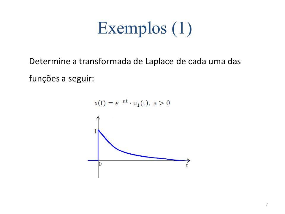 7 Exemplos (1) Determine a transformada de Laplace de cada uma das funções a seguir: