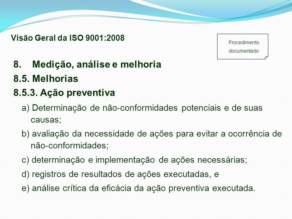 a) Determinação de não-conformidades potenciais e de suas causas; b) avaliação da necessidade de ações para evitar a ocorrência de não-conformidades;