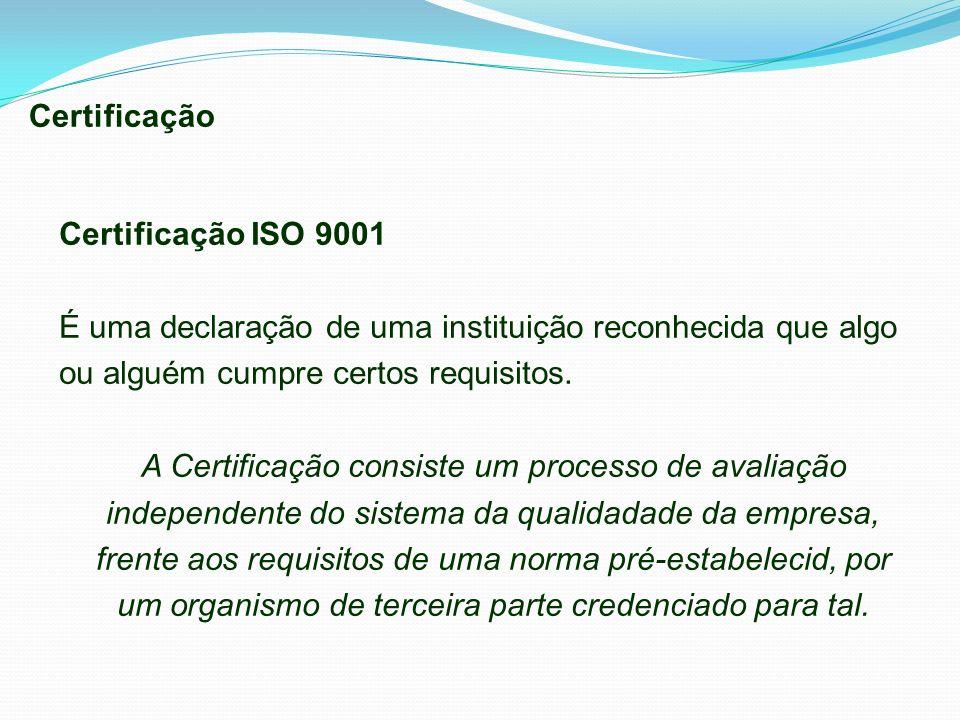 Certificação Certificação ISO 9001 É uma declaração de uma instituição reconhecida que algo ou alguém cumpre certos requisitos. A Certificação consist