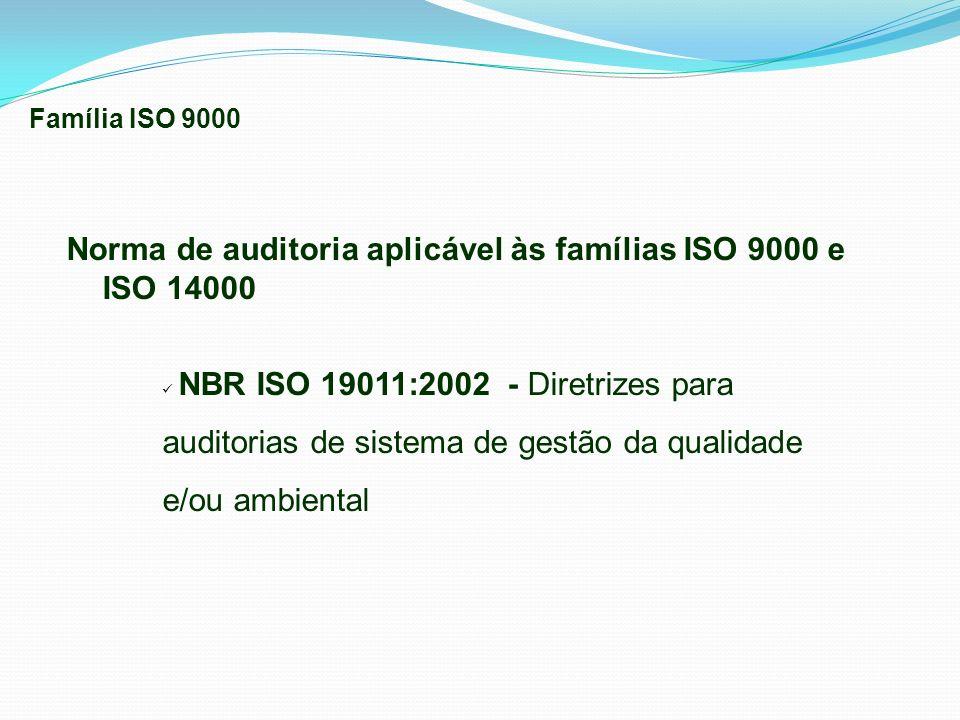 Norma de auditoria aplicável às famílias ISO 9000 e ISO 14000 NBR ISO 19011:2002 - Diretrizes para auditorias de sistema de gestão da qualidade e/ou a