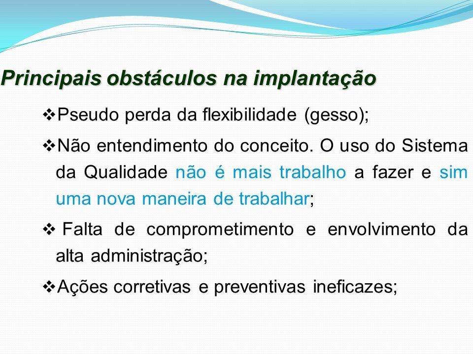 Principais obstáculos na implantação Pseudo perda da flexibilidade (gesso); Não entendimento do conceito. O uso do Sistema da Qualidade não é mais tra