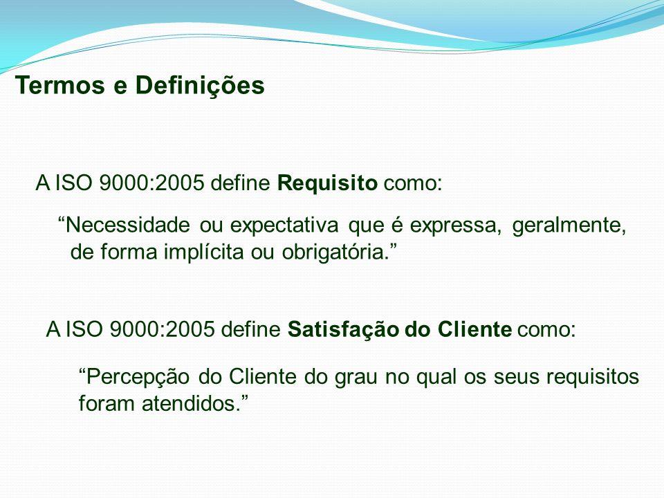 A ISO 9000:2005 define Requisito como: Necessidade ou expectativa que é expressa, geralmente, de forma implícita ou obrigatória. A ISO 9000:2005 defin