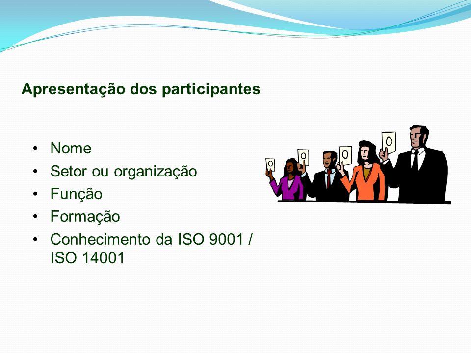 Nome Setor ou organização Função Formação Conhecimento da ISO 9001 / ISO 14001 Apresentação dos participantes