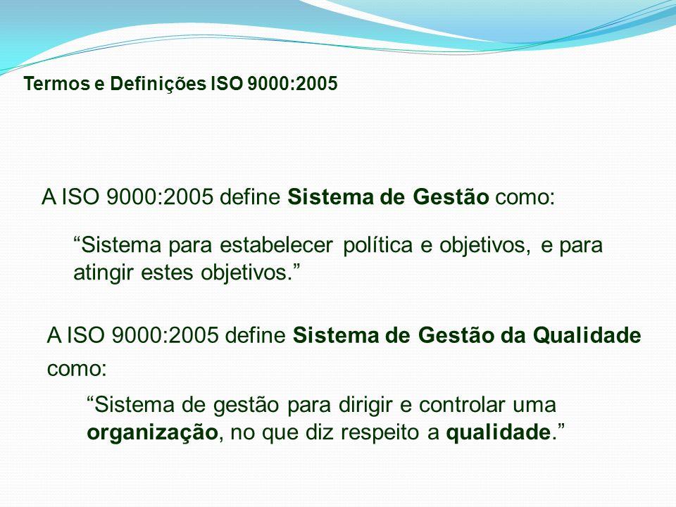 A ISO 9000:2005 define Sistema de Gestão da Qualidade como: Sistema de gestão para dirigir e controlar uma organização, no que diz respeito a qualidad