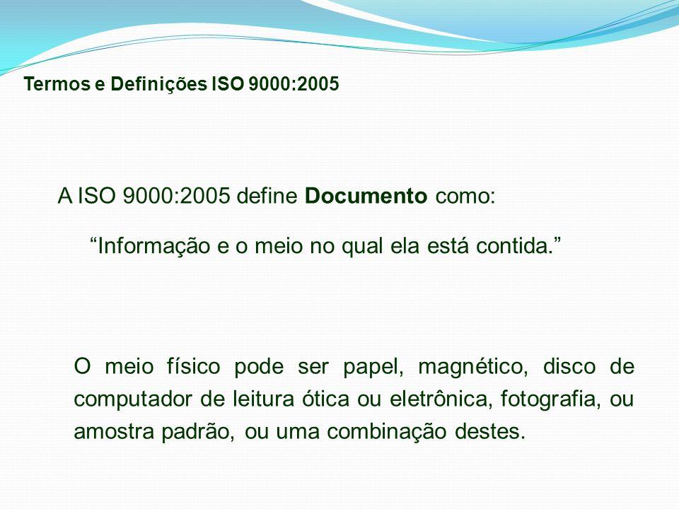 Informação e o meio no qual ela está contida. A ISO 9000:2005 define Documento como: O meio físico pode ser papel, magnético, disco de computador de l