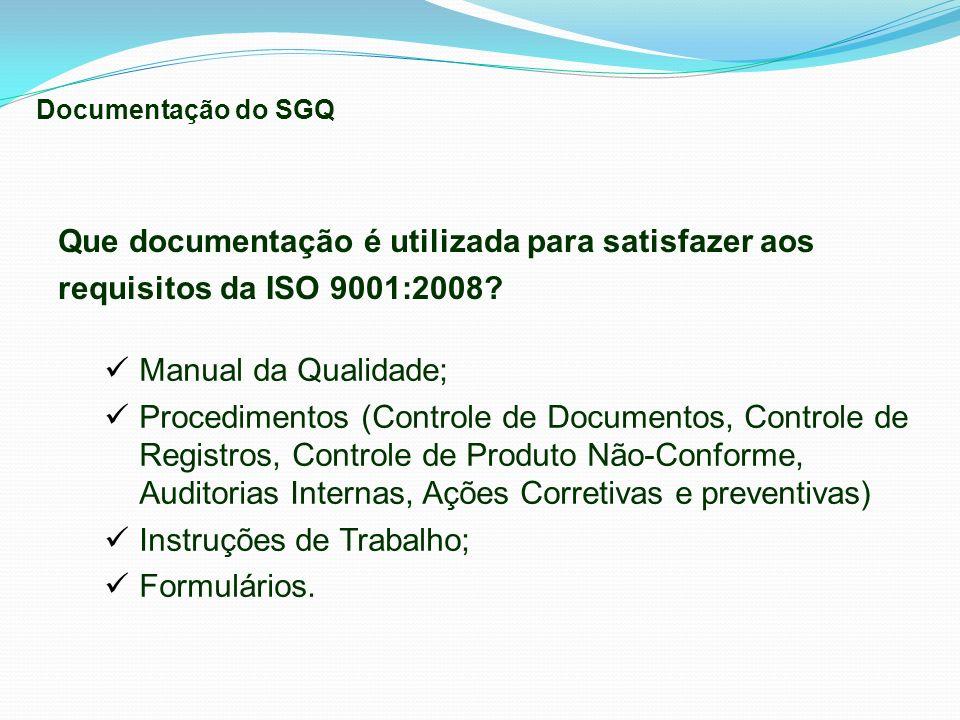 Que documentação é utilizada para satisfazer aos requisitos da ISO 9001:2008? Manual da Qualidade; Procedimentos (Controle de Documentos, Controle de