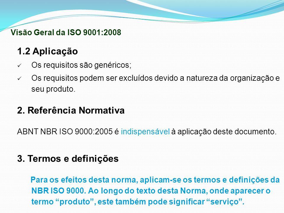 1.2 Aplicação Os requisitos são genéricos; Os requisitos podem ser excluídos devido a natureza da organização e seu produto. 2. Referência Normativa A