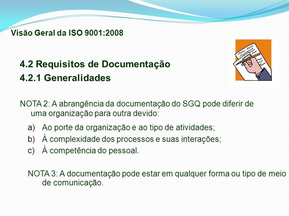 4.2 Requisitos de Documentação 4.2.1 Generalidades NOTA 2: A abrangência da documentação do SGQ pode diferir de uma organização para outra devido: a)A