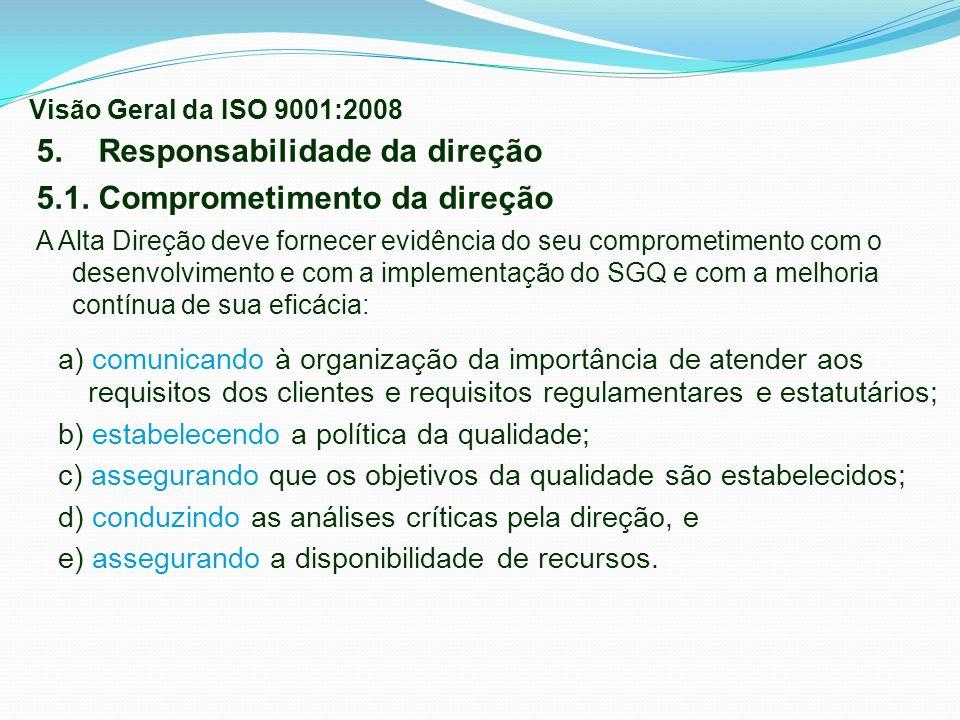 5. Responsabilidade da direção 5.1. Comprometimento da direção A Alta Direção deve fornecer evidência do seu comprometimento com o desenvolvimento e c