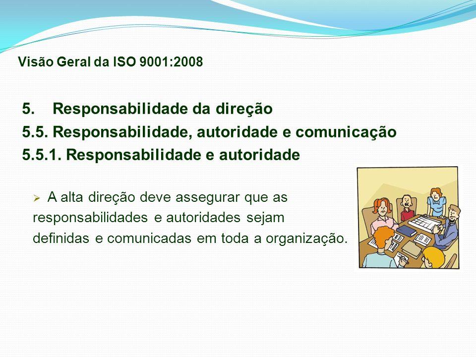 5. Responsabilidade da direção 5.5. Responsabilidade, autoridade e comunicação 5.5.1. Responsabilidade e autoridade A alta direção deve assegurar que