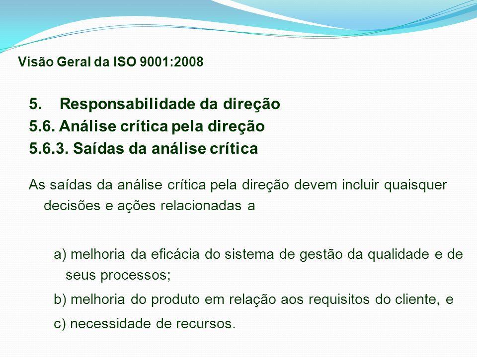 5. Responsabilidade da direção 5.6. Análise crítica pela direção 5.6.3. Saídas da análise crítica As saídas da análise crítica pela direção devem incl