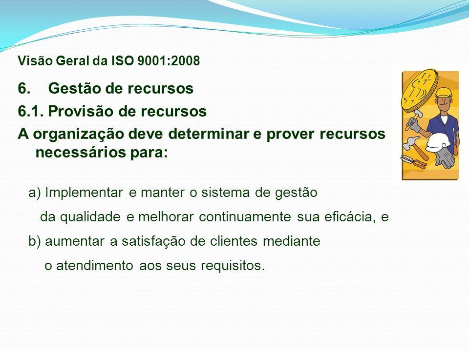 6. Gestão de recursos 6.1. Provisão de recursos A organização deve determinar e prover recursos necessários para: a) Implementar e manter o sistema de