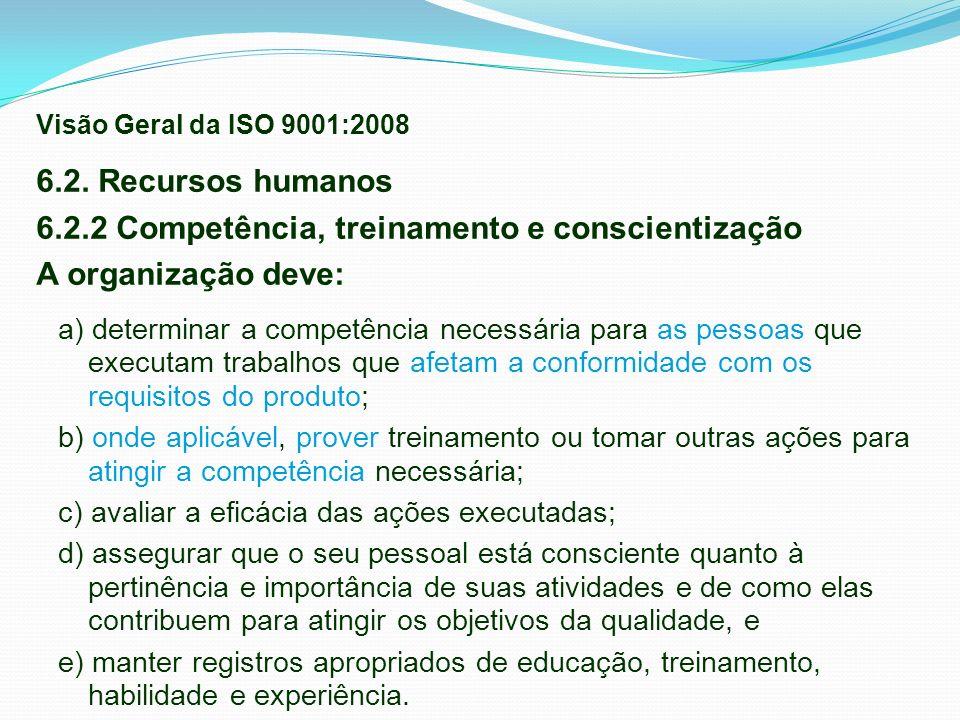 6.2. Recursos humanos 6.2.2 Competência, treinamento e conscientização A organização deve: a) determinar a competência necessária para as pessoas que