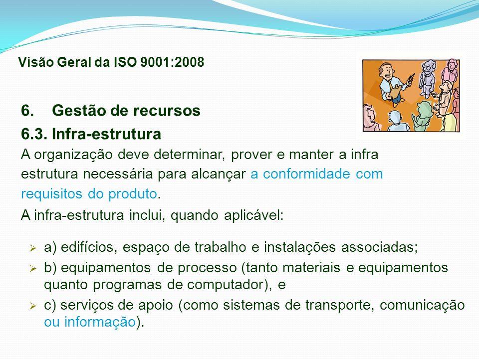 6. Gestão de recursos 6.3. Infra-estrutura A organização deve determinar, prover e manter a infra estrutura necessária para alcançar a conformidade co