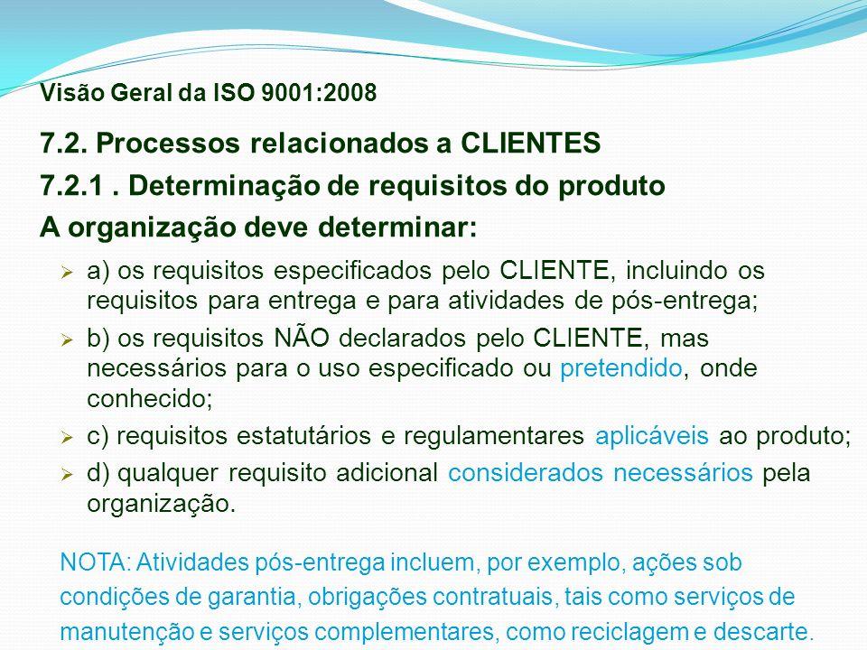 7.2. Processos relacionados a CLIENTES 7.2.1. Determinação de requisitos do produto A organização deve determinar: a) os requisitos especificados pelo