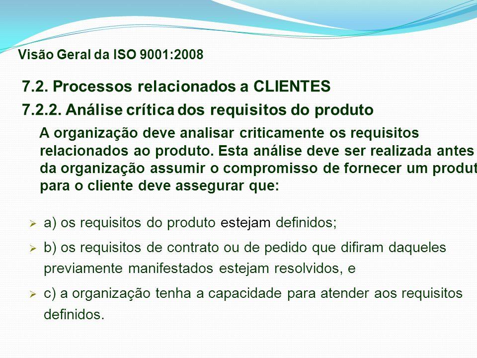 7.2. Processos relacionados a CLIENTES 7.2.2. Análise crítica dos requisitos do produto A organização deve analisar criticamente os requisitos relacio