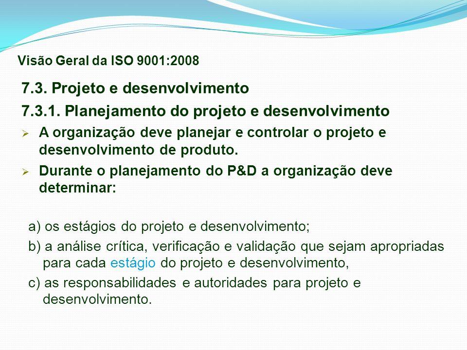 7.3. Projeto e desenvolvimento 7.3.1. Planejamento do projeto e desenvolvimento A organização deve planejar e controlar o projeto e desenvolvimento de
