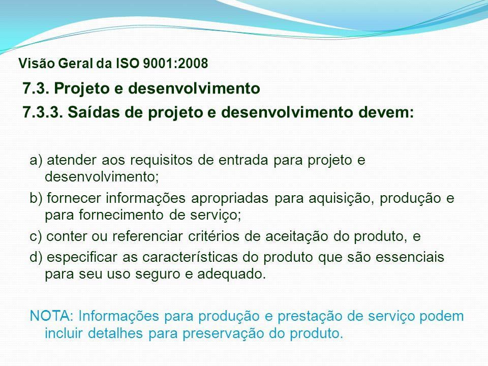7.3. Projeto e desenvolvimento 7.3.3. Saídas de projeto e desenvolvimento devem: a) atender aos requisitos de entrada para projeto e desenvolvimento;