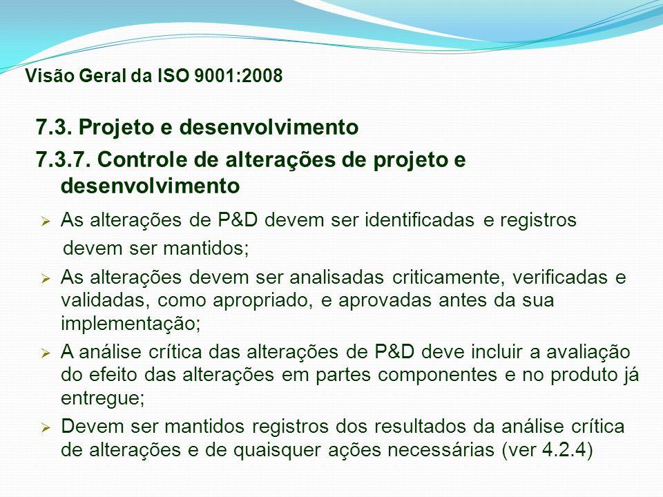 7.3. Projeto e desenvolvimento 7.3.7. Controle de alterações de projeto e desenvolvimento As alterações de P&D devem ser identificadas e registros dev